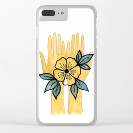 Flower in Hands Clear iPhone Case