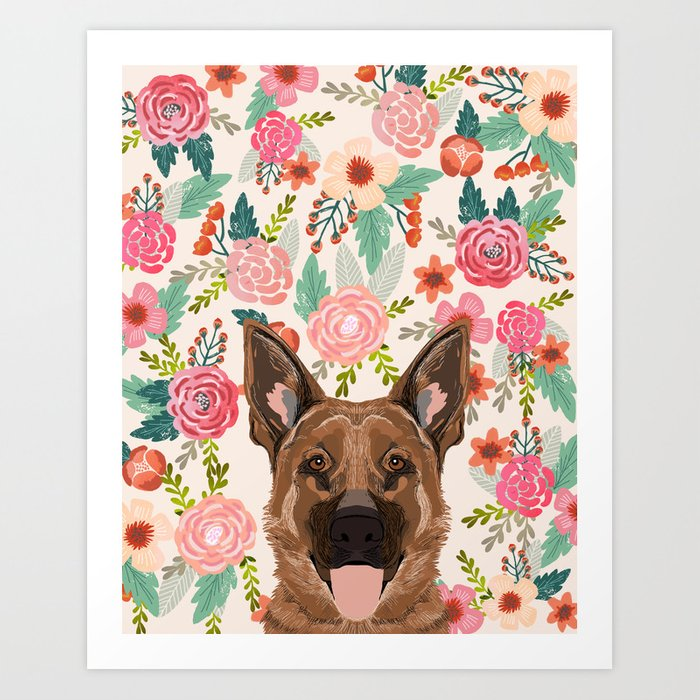 German Shepherd florals flowers spring pet portrait dog art funny german shepherd painting art Kunstdrucke