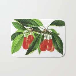 Red Cherries Vector on White Background Bath Mat