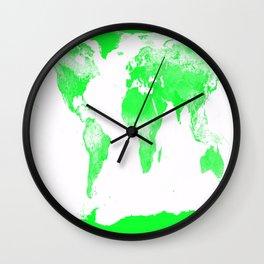 woRld Map Bright Green & White Wall Clock