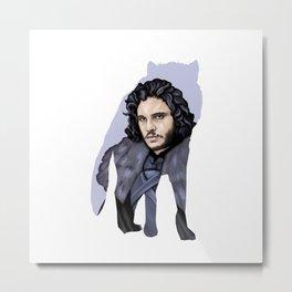 John Snow and the wolf Stark Aegon Metal Print