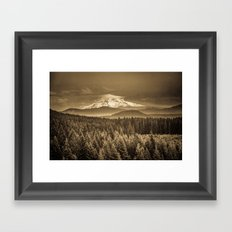 Mountains and Forest - Mt. Hood Sepia Vintage with Trees and Clouds Framed Art Print