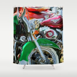 Green Paint And Chrome, Motorcycle Eye Candy Shower Curtain