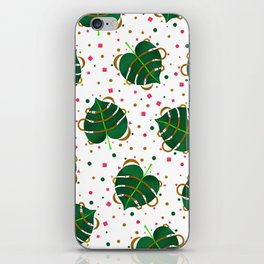 Monstera Leaves with Gold Pink and Green Geometric Confetti iPhone Skin