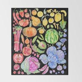 Rainbow of Fruits and Vegetables Dark Throw Blanket