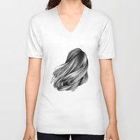hair V-neck T-shirts featuring hair by Isabel Seliger