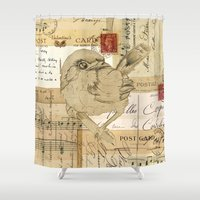pen Shower Curtains featuring PEN PAL by The Pattern Boutique