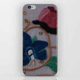 Elizabethan Embroidery Cornflower and Butterfly iPhone Skin