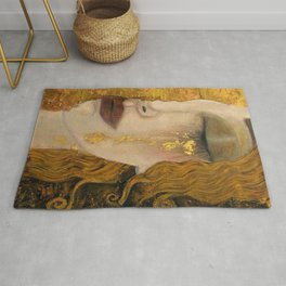 Golden Tears (Freya's Heartache) portrait painting by Gustav Klimt Rug