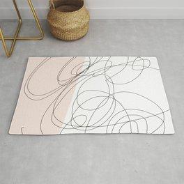 Blush pink scribble line art  Rug