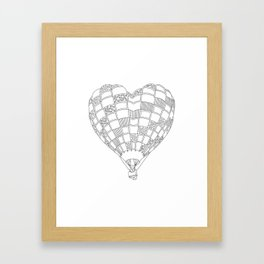Heart Hot Air Balloon, Adult Coloring Illustration Framed Art Print