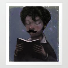 Reader with Mustache Art Print