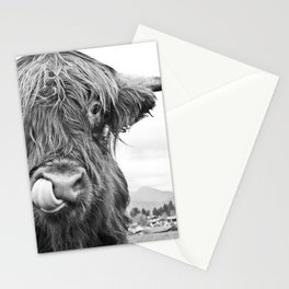 Cute Highland Cow Black & White #1 #wall #art #society6 Stationery Cards
