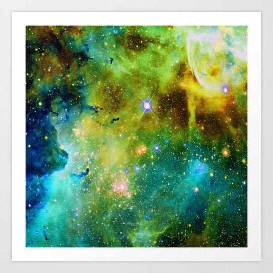 blue green space nebula Art Print