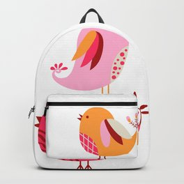 Happy Pink And Orange Birds And Blooms Backpack