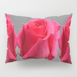 SEVEN PINK BUD ROSES ON GREY COLOR Pillow Sham