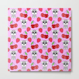 Cute little happy grey little baby Schnauzer puppies, yummy red sweet summer strawberries and funny Kawaii cherries pastel pink fruity pattern design. Metal Print