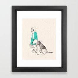 girl n dog Framed Art Print