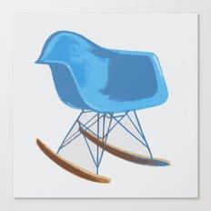 Mid-Century Rocker Chair - Blue Canvas Print