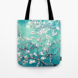 Vincent Van Gogh Almond Blossoms Turquoise Tote Bag