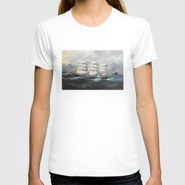 Vintage British Frigate Sailboat Painting (1881) T-shirt