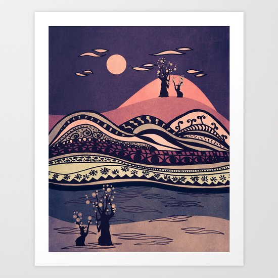 Psychedelic mountains (colour option) Art Print