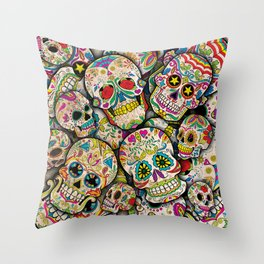 Sugar Skull Collage Throw Pillow