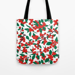 Holiday Winterberries + Branches Tote Bag