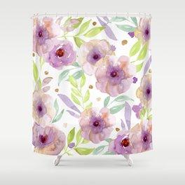 watercolor violet flowers Shower Curtain