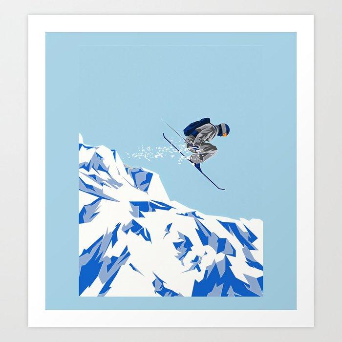 Airborn Skier Flying Down the Ski Slopes Kunstdrucke