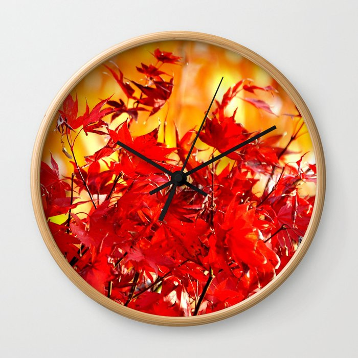 RED AND ORANGE AUTUMN Wall Clock