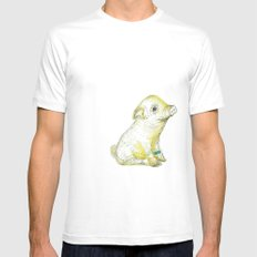 Pig Illustration MEDIUM Mens Fitted Tee White