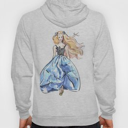 Girl in blue dress. Fashion illustration. Podium. Hoody