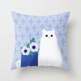 Blue flowers and cat Throw Pillow
