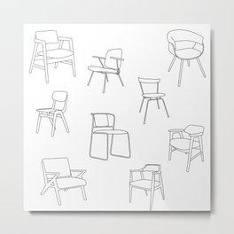Mid Century Chairs Print Black and white Metal Print