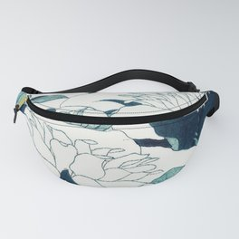 JAPANESE FLOWERS Midnight Blue Teal Fanny Pack