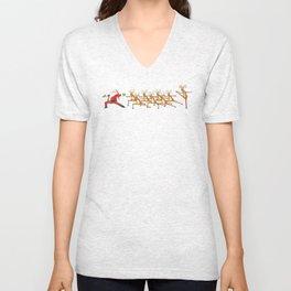 Santa And Reindeer Yoga Christmas Shirt Unisex V-Neck