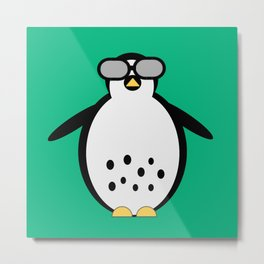 Pop Penguin Teal Metal Print