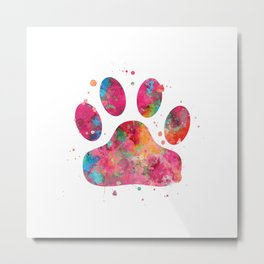 Colorful Paw Metal Print
