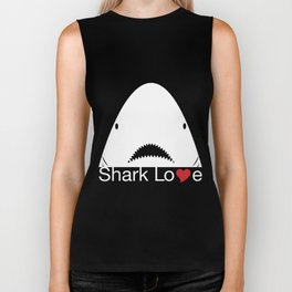 Shark Love Shirts (red heart) Biker Tank