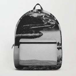 Little Mountain Island // Black and White Lake Photograph in Colorado Backpack