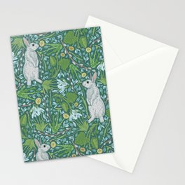 Grey hares with coltsfoots and snowdrops on green background Stationery Cards