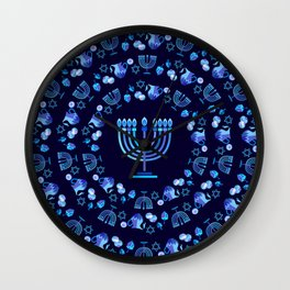 Happy Hanukkah Festival Holiday Decoration JUDAICA Wall Clock