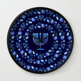 Happy Hanukkah Festival Holiday Decoration JUDAICA Wall Clock