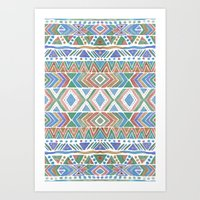 Watercolor tribal  Art Print