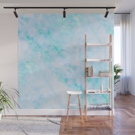 Blue Marble - Shimmery Turquoise Blue Sea Green Marble Metallic Wall Mural