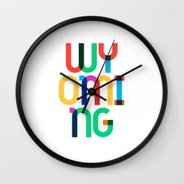 Wyoming State Mid Century, Pop Art Mondrian Wall Clock