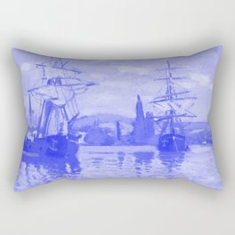 Ships Riding on the Seine at Rouen Japanese Porcelain Concept Rectangular Pillow