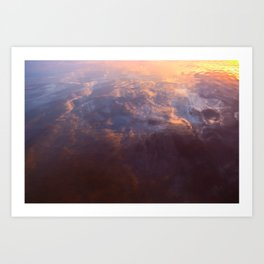 reflection sky in the water at sunset Art Print