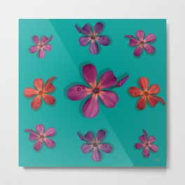 """Coral, pink & orange Violets over a teal background"" Metal Print"